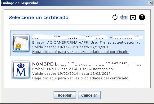 Selección certificado